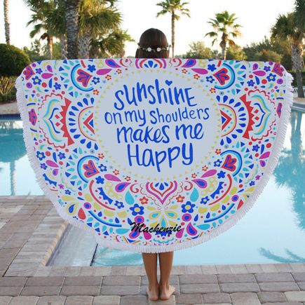 Customized Sunshine Round Terry Beach Towel