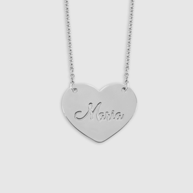 Sterling Silver Cut out Name Heart Necklace