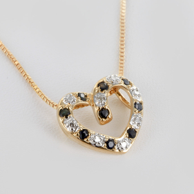Cut Out Heart Shaped Necklace with Sapphire Stones