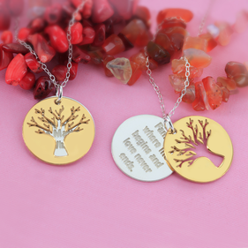 Double Charm Two Tone Family Tree Necklace Personalized w/ Inspirational Message