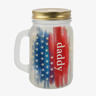 Daddy My Hero Custom Frosted Mason Jar w/ Lid & Straw