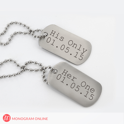 Personalized Stainless Steel Dog Tags , Set of Two Necklaces