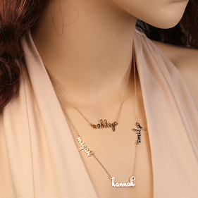 Double Layer Mini Name Necklace in Gold over Silver