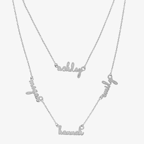 Double Layer Mini Name Necklace in Sterling Silver