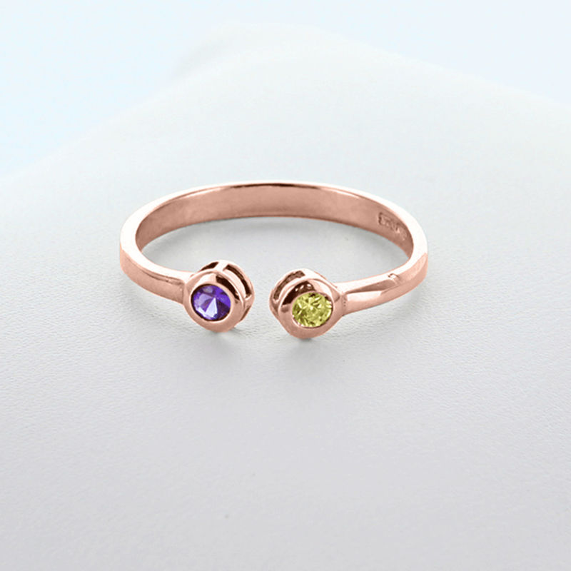 Dual Birthstone Couples Stackable Ring In Rose Gold Over