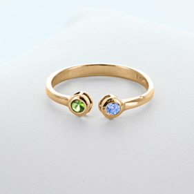 Dual Birthstone Couples Stackable Ring in Yellow or Rose Gold over Silver