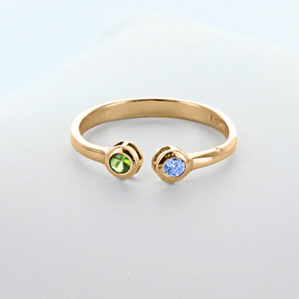 Dual Birthstone Couples Stackable Ring in Yellow Gold over Silver