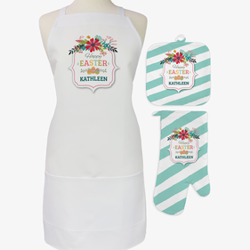 Easter Eggs 3-Piece Custom Apron, Potholder & Oven Mitt Set
