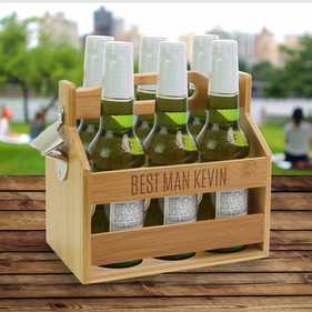 Eat Drink Suit Up Custom Beverage Caddy w/ Bottle Opener