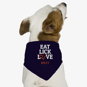 Eat Lick Love Personalized Dog Bandana