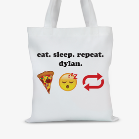 Eat Sleep Repeat Personalized Kids Tote Bag