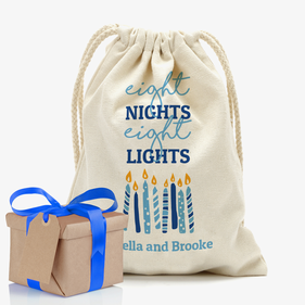 Eight Night Eight Lights Custom Drawstring Sack