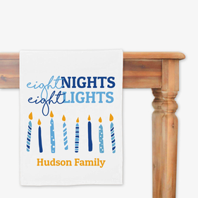 Eight Nights Eight Lights Personalized Table Runner