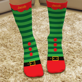 Elf Personalized Christmas Tube Socks