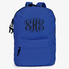 Embroidered Script Monogram Backpack