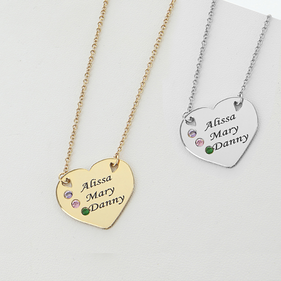Engraved Heart Pendant with Three Birthstones