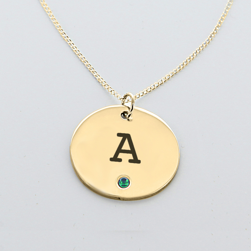 Engraved initial circle pendant with birthstone in yellow gold engraved initial disk pendant w swarovski birthstone in yellow gold over silver mozeypictures Choice Image