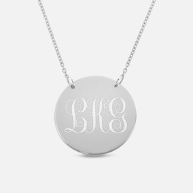 Sterling Silver Engraved Monogram Circle Necklace