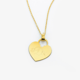 Engraved Monogram Heart Necklace in Gold over Silver