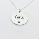 Engraved Name One Circle Pendant with Birthstone in Silver