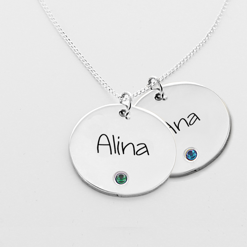 Engraved name silver disk pendant with swarovski birthstone engraved name silver disk pendant with swarovski birthstone extra image 1 mozeypictures Choice Image