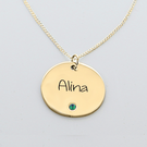 Engraved Name Circle Pendant with Birthstone in Yellow Gold over Silver