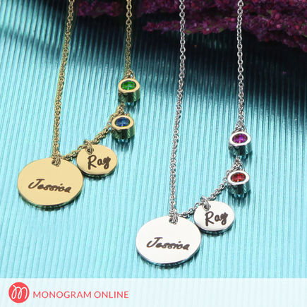Engraved Name Two Circle Pendants with Two Birthstone Charms