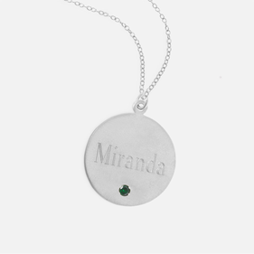 Block Engraved Silver Name Necklace w/ Swarovski Birthstone