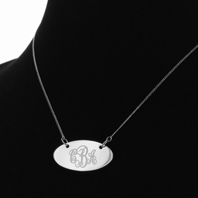 Engraved Scroll Monogram Oval Necklace in Silver