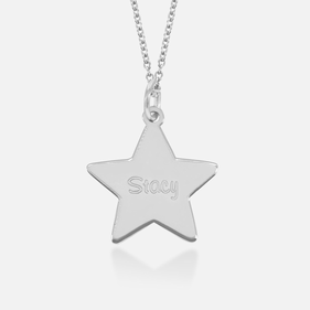 Sterling Silver Engraved Star Pendant in Silver