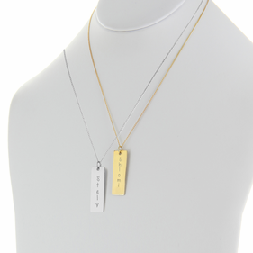 Engraved w/ Name Rectangle Pendant in Sterling Silver