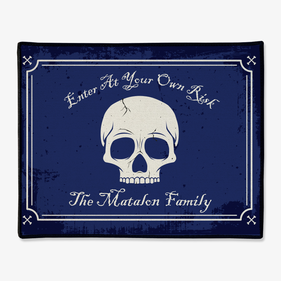Enter At Your Own Risk Personalized Skull Doormat