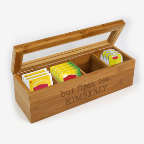 Exclusive Sale - But First, Tea Personalized Wood Tea Box