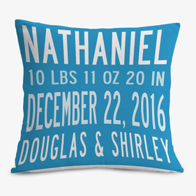 Exclusive Sale - Custom Birth Stats Decorative Cushion Cover