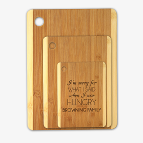 Exclusive Sale - Personalized Apology Wood Cutting Board 3 Piece Set