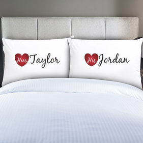 Exclusive Sale - Personalized Couples His & Hers Pillowcase Set