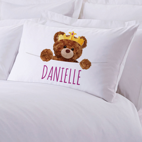 Exclusive Sale - Personalized Crowned Teddy Bear Pillowcase