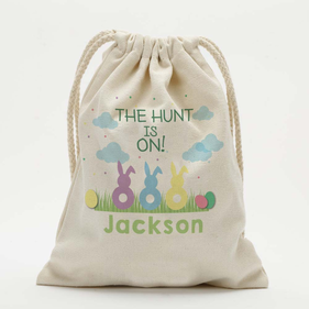 Exclusive Sale - Personalized Easter Bunnies Kids Drawstring Sack