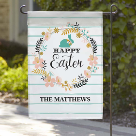 Exclusive Sale - Personalized Happy Easter Wreath Garden Flag