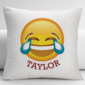 Face With Tears of Joy Custom Emoji Decorative Cushion Cover