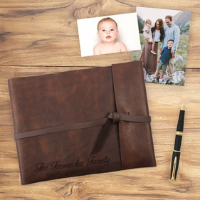 Family Custom Rustic Leather Scrapbook Photo Album