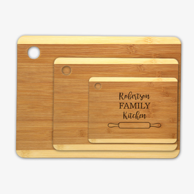 Family Kitchen Custom Wood Cutting Board 3 Piece Set