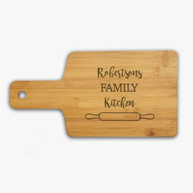 "Family Kitchen Personalized Name Serving Board <p><span style=""color:#ff0000;"">[WOODEN SERVING BOARD IS CURRENTLY ON BACKORDER]"