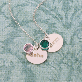 Family Necklace Personalized with Name and Swarovski Birthstone
