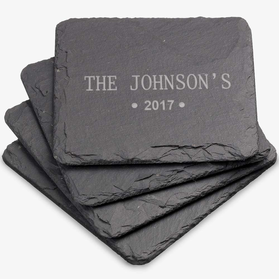 Family Personalized Square Slate Coaster