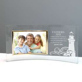 Father's Day Custom Jade Glass Crescent with Picture Frame