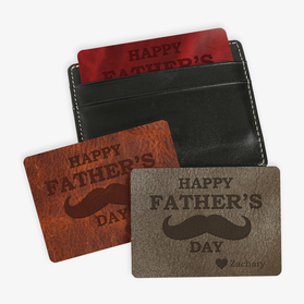 Father's Day Custom Mustache Leather Wallet-Card Insert