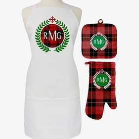Festive Red Plaid 3-Piece Personalized Apron, Pot Holder and Mitt Set