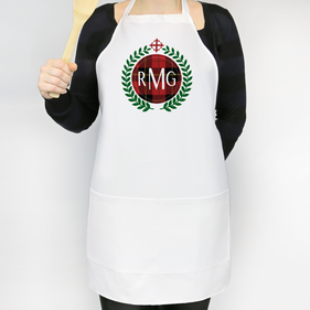 Festive Red Plaid Personalized Adult Apron