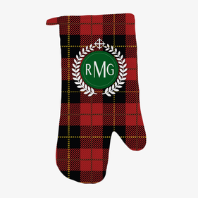 Festive Red Plaid Personalized Oven Mitt